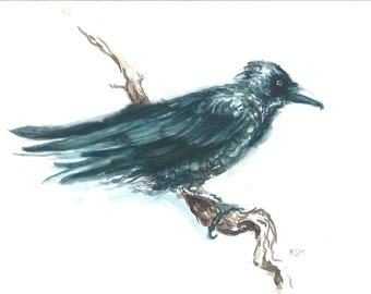 The Watcher *Limited Edition* Giclee Raven watercolor painting