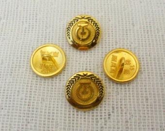 Gold button - gold blazer metal buttons , 4pcs