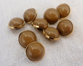 Dome Buttons - Brown Button,Gold Buttons 16 pcs