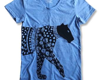 Tribal Leopard Graphic print  Round neck Women's T-Shirt