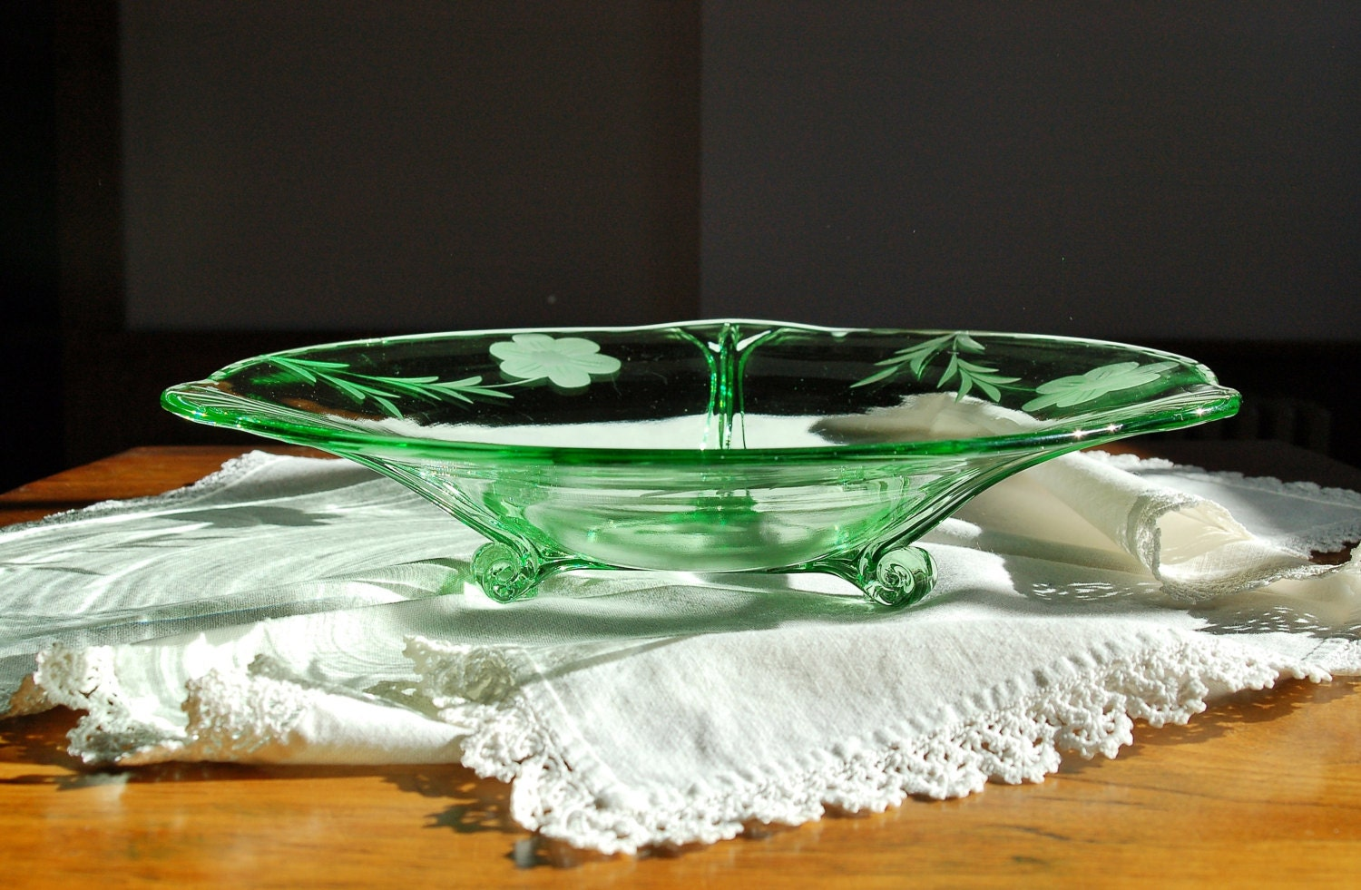 Deco Etched Glass Bowl
