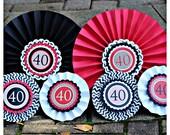 40th BIRTHDAY PARTY decorations.  Decorative Rosettes, paper fans Milestone Birthday Decoration. 30th Birthday, 50th Birthday, 60th Birthday