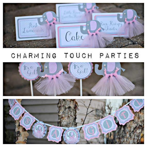 Pink And Gray Elephant Baby Shower Decorations: ELEPHANT BABY SHOWER, Tutu Cute, It's A Girl, Elephant