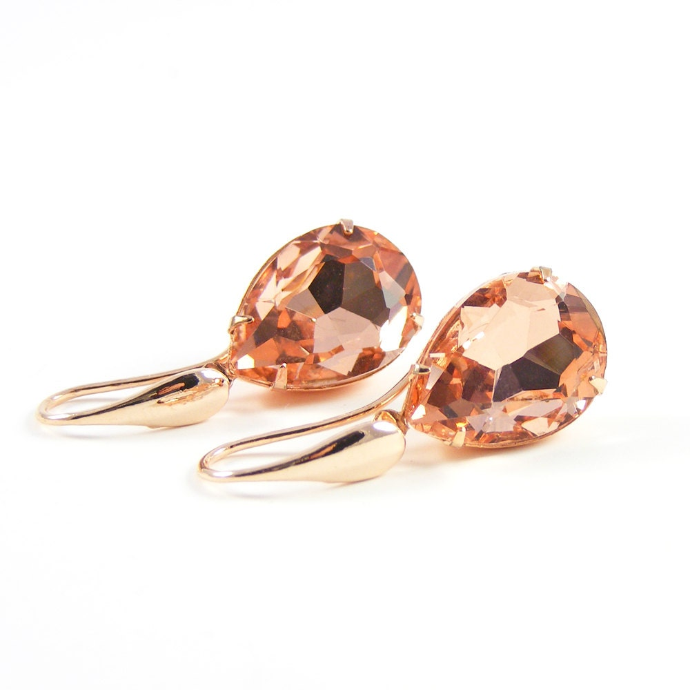 Peach Crystal Earrings, Vintage Style Rose Gold Drop Earrings, Old Hollywood, Pretty as a Peach