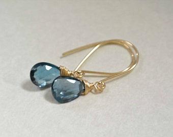 London Blue Topaz Earrings, Dangle Earrings, Gold Earrings, Drop Earrings, Gemstone Earrings, 14K gold-filled