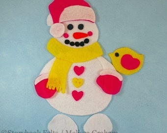 Shop Closing Sale  - Build A Snowman Girl Felt Snowman Set