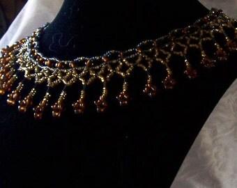Byzantine Gold and Amber Beaded Lacy Choker