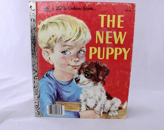 A Little Golden Book, The New Puppy by Kathleen N. Daly, Lilian Obligado, 1969, Vintage Picture Book