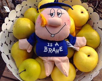 Vintage Russ Berrie Co. Wilbur Bean Bag Toy- I Is A Brane Graduation Doll