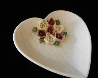 Vintage Ceramic Heart Shaped Dish with Little Roses on the inside