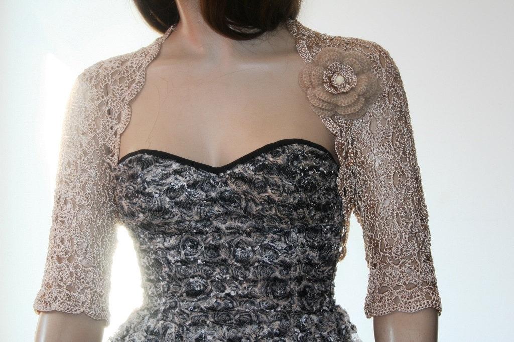 wedding shrug bolero crochet silk beige gold by gabrielafaur. Black Bedroom Furniture Sets. Home Design Ideas
