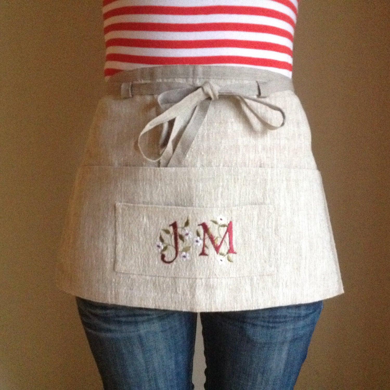 White waist apron ruffle -  Monogram Linen Utility Apron Gardening Apron Half Apron Teachers Apron Waitress Apron