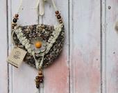 Woodland Rustic Bag,  handmade small gypsy hippie bohemian little purse, shoulder bag, medicine bag
