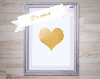 Heart Gold Foil Art Print 8x10, Instant Download, Heart Printable, Heart Download, DIY, Digital Download, Heart Decor, Room Decor