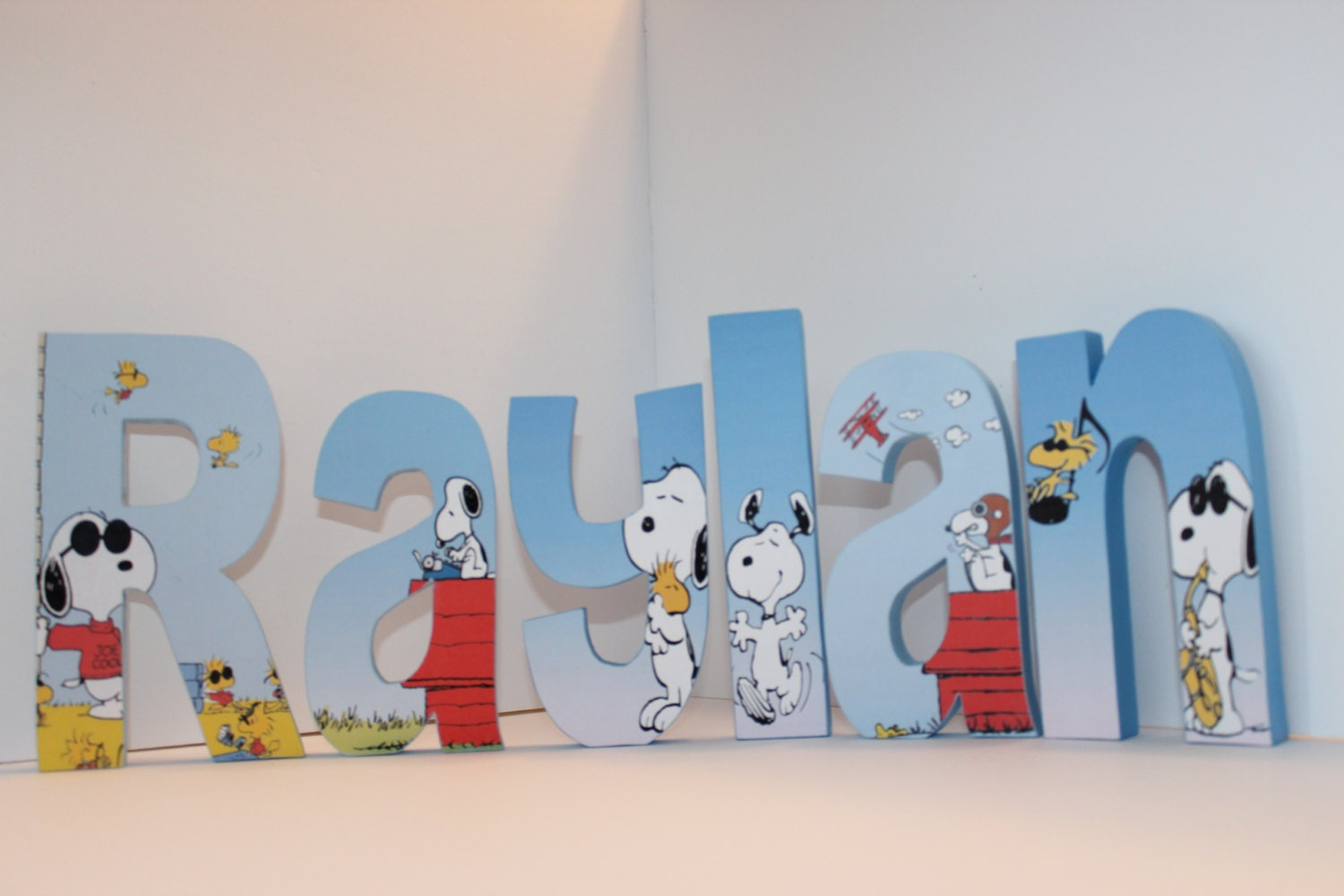 Snoopy And Woodstock Free Standing Custom Wood Letters By Bubzies. Full resolution‎  photograph, nominally Width 1500 Height 1000 pixels, photograph with #A02C2B.
