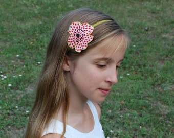 Dotty red flower hairband