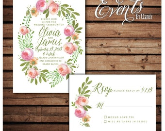 PRINTED Wedding Invitation - watercolor peony laurel invitation and rsvp