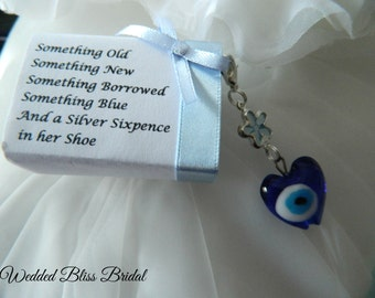 "Wedding Bouquet charm -""Evil eye"" Talisman -Something Blue - Wedding gift - Gift Boxed"