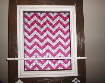 Chevron Pink Wall Jewelry Organizer with Distressed White Fleur De Lis Knobs and Distressed Chocolate Brown Frame with Antiqued White Trim