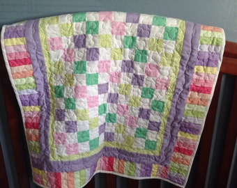 Machine Quilted Baby Quilt in Pastel Colors