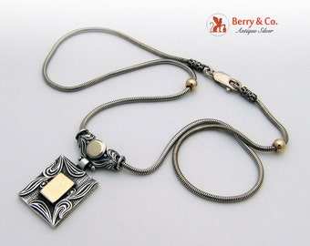 Rectangular Pendant Liquid Chain Necklace Sterling Silver