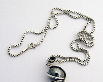 Sterling Hematite Pendant Necklace Swirly Design
