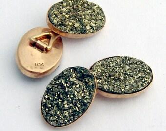 Hematite Druzy Oval Cuff Links 10K Gold