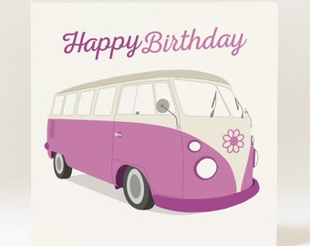 Handmade Campervan Female/Male Birthday Card