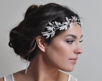 Laurel leaf bridal headband - Grecian style wedding hairpiece, Greek leaves bride crown, Grecian leaf halo