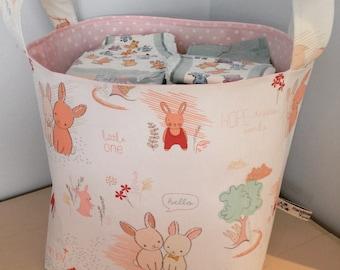 Bunnies Fabric Basket - Littlest Furry Tails - Nappy Basket, Diaper Caddy, Nursery Storage, Playroom, Toy Storage, Nursery Decor - Pink