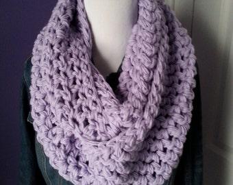 SUPER CHUNKY Crochet Infinity Scarf-Lilac- ready to ship!!