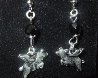 Silver and Black Flying Pig Earrings