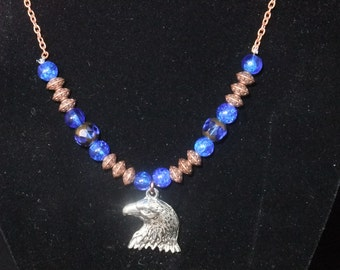 Ravenclaw Blue & Bronze Necklace (R3) - Great Gift for Fans of the Books or Movies!