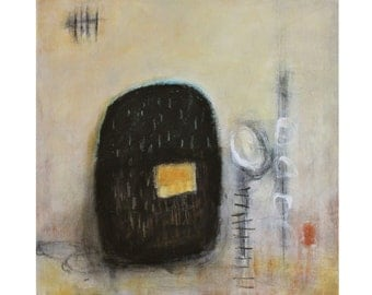 yellow black abstract painting modern original art Leah Fitts Keeping Tally