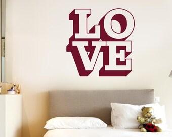 L O V E In 3D Wall Sticker