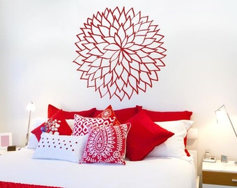 Flower Outlined Leafs Wall Sticker