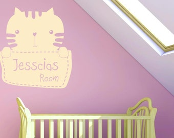 Personalised Kitty Kids Room Sign Wall Sticker