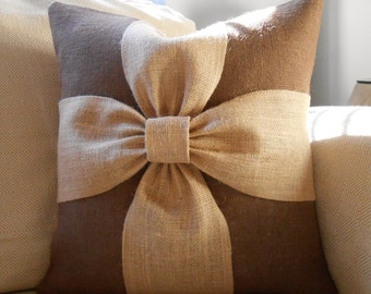 Chocolate brown burlap bow pillow cover  18x18