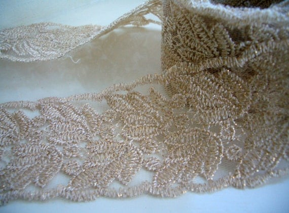 Lace embroidered gold floral leaf wedding trim from