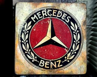 Vintage Mercedes Benz Logo Distressed Wood Art