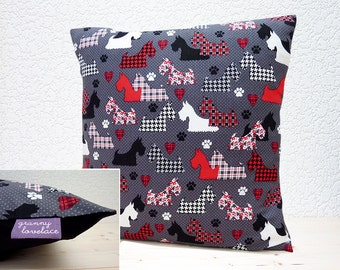 "Handmade 16""x16"" Cotton Cushion Pillow Cover Benartex Great Scotts Scottie Dogs Black/White/Red Houndstooth Design"