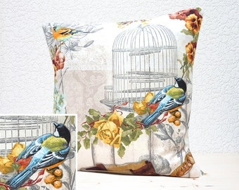 "Handmade 18""x18"" Cotton Cushion Pillow Cover in Orange/Brown/Blue/Yellow Flowers & Birds/Bird Cage on Fawn/Lace Design Print"