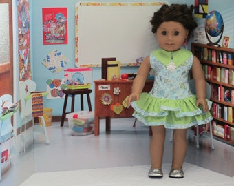 For 18 Inch dolls-- ruffled Dress, Green and Blue Doll Clothes School Dress-With Shoes--Shown on my American Girl Doll