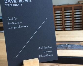 Letterpress typeset Song Lyrics - David Bowie Space Oddity