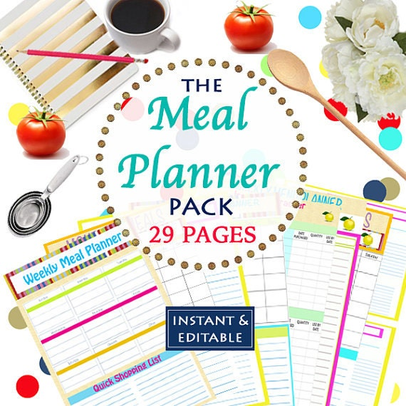 INSTANT Download Menu Planner Printables Meal Planning