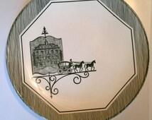 Vintage Transferware Dinner Plate Horse Carriage Weather Vane Green