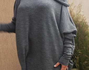 Over-sized Long Sleeve Knitted Cotton Jersey  Tunic Turtle Neck & Nara TPL006