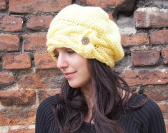 Hand Knitted Ladies Hat  Fall Slouch Hat Hand Knitted Beret