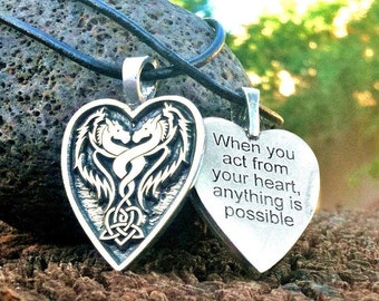 """Goddess Dragon pendant B """"When you act from your heart, anything is possible"""""""