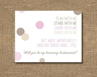 Plan with me, stand with me / Will you be my Bridesmaid Funny / Junior Bridesmaid Invitation / Ask my Bridesmaids / Honorary Bridesmaid Card